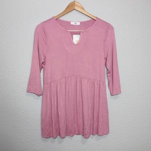 Amelia James Pink Peplum 1/2 Sleeve Blouse sz S